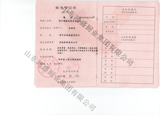 锦绣税务登记证