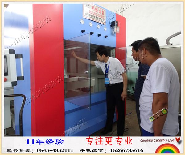 【一样的价格 不一样的享受】江苏连云港市客户来公司实地考察采购外墙真石漆保温装饰防火一体板自动喷漆机